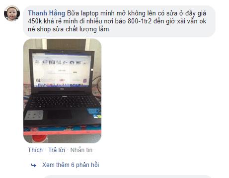 Khách phản hồi sửa laptop